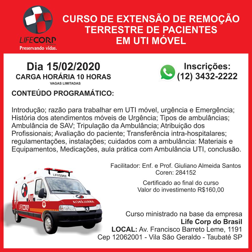 82903628 1775910495879648 5528118055256719360 n - Curso de Extensão de Remoção Terrestre de Pacientes em UTI Móvel